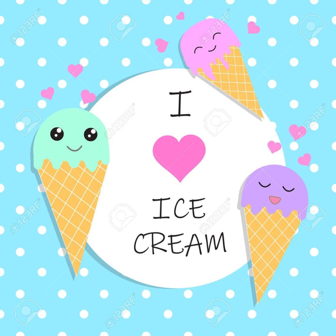 124181165 I Love Ice Cream Poster Banner Vector Illustration Eps10 9628069 1140x1140