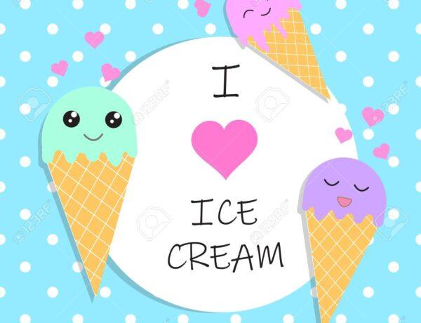 124181165 I Love Ice Cream Poster Banner Vector Illustration Eps10 9628069 600x460